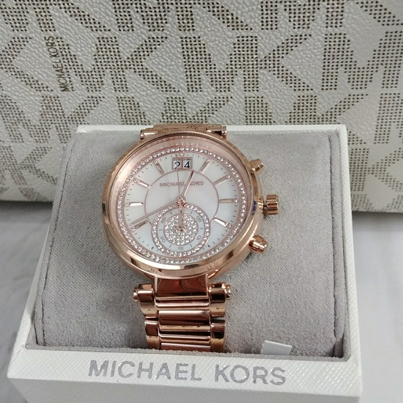 fd16c567d3b9 Michael Kors Sawyer Crystal Pave Rose Gold Watch